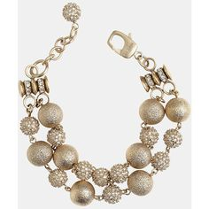 St. John Collection Brushed Gold & Crystal Bracelet  found on Polyvore