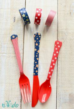Hometalk :: Washi Tape Embellished Plastic Party Silverware