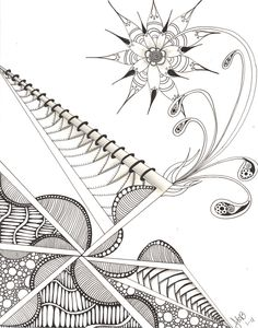 """My Zen """"bustinOUTbloom"""" [i love the use of wide lines used to separate the tangles done here]"""