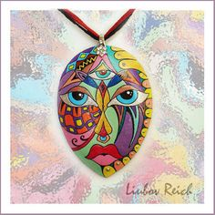 """Items similar to Hand Painted Leather Necklace - Leather Pendant - Colorful Jewelry Abstract - Mask """"Third eye"""" on Etsy Pebble Painting, Pebble Art, Stone Painting, Rock Painting, Stone Crafts, Rock Crafts, Polka Dot Art, Rock And Pebbles, Pet Rocks"""