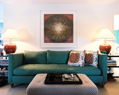 Teal Sofa Design Ideas, Pictures, Remodel and Decor House Of Turquoise, Turquoise Couch, Teal Couch, Blue Couches, Green Sofa, Coral Turquoise, Living Room New York, Teal Living Rooms, Eclectic Living Room