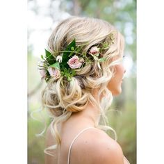10 Flower Crown Hairstyles for Any Bride ❤ liked on Polyvore featuring hair