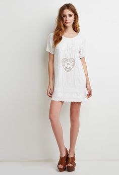 Heart-Embroidered Shift Dress | Forever 21 - 2000130581