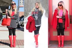 How to Style Hunter Boots: Outfit Inspiration So many ways to wear the Military Red Hunter Boots. Red Hunter Boots, Hunter Boots Outfit, Cute Spring Outfits, Fall Winter Outfits, Cute Outfits, Casual Outfits, Winter Looks, Winter Style, Short Boots Outfit