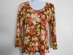 Tommy Bahama Brown / Pink Long Sleeve Blouse Size 8/10 #Guysbizgiftworld