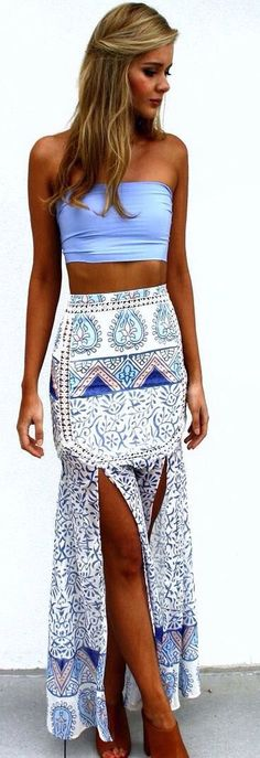 Tube top and long skirt with front slits, blues and white                                                                                                                                                     More