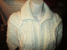 Vintage Hand Cabel Knit Fisherman 100% Wool Cardigan Sweater zip up long length