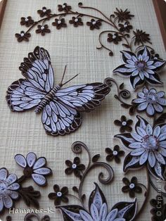 "Exquisite 2-tone quilling project ! ""stranamasterov.ru/ Name of artist is written below"""