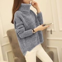 High Neck Knitting Irregular Hem Sweater – May Your Fashion Chunky Knit Jumper, Loose Sweater, Sweater Coats, Grey Sweater, Sweater Outfits, Pullover Sweaters, Grey Turtleneck, Casual Sweaters, Winter Sweaters