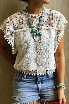 Women Summer Tops & Blouses Hollow Lace Vest Top Short Sleeve Blouse C – Foxy Farm Designs Boho Outfits, Summer Fashion Outfits, Fashion Ideas, Spring Outfits, Fashion Inspiration, Winter Fashion, Ladies Outfits, Fashion Tips, Boho Fashion Summer