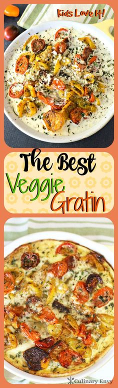 The Best Veggie Gratin is a delicious, easy to make, vegetarian casserole. Made with YUMMY multi-layered veggies in a cheesy egg custard; this is one kid-pleasing dish! Click to read now or pin and save for later!