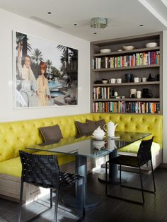 Breakfast room banquette in bright yellow (vinyl) makes a happy corner. I am concerned that the person in the middle on the long side of any banquette will feel trapped. Dining Room Bench Seating, Banquet Seating, Dining Nook, Kitchen Seating, Dinning Table, Dining Corner, Dining Chairs, Cafe Seating, Room Chairs
