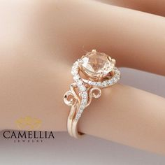 14K Rose Gold Engagement Ring Rose Gold by CamelliaJewelry on Etsy