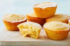 Made in the muffin pan, these little cakes are stuffed with lemon curd custard for a sweet treat even Nanna would approve of. Lemon Desserts, Lemon Recipes, Sweet Recipes, Cake Recipes, Dessert Recipes, Lemon Cakes, Loaf Recipes, Mini Desserts, Lemon Custard