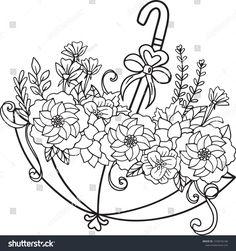 Vector de stock (libre de regalías) sobre Hand Drawn Umbrella Floral Pattern Doodle1430476166