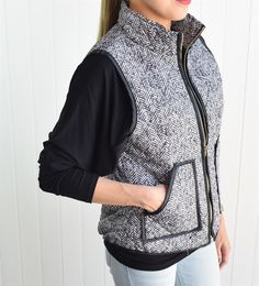 Herriott Herringbone Quilted Puffer Vest - a best seller on Jane.com! Grab it at over 60% off RIGHT NOW! #Fall #Fashion
