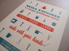 Skill Exchange Pop up Workshop Poster — Designspiration