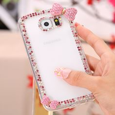 KISSCASE Bling Diamond Case For Samsung Galaxy S7 S6 Edge S5 Note 5 4 Cute Bowknot Rhinestone Hard Cover For S7 Edge S6 Note 5 4