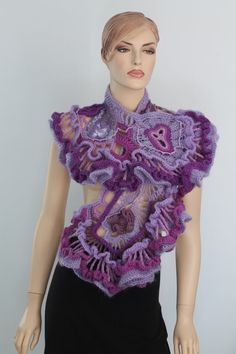 Rüschen Spitze lila violett lila Freeform häkeln von levintovich