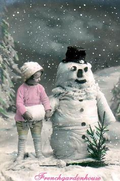 vintage girl in winter with snow man