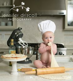 Our little chef, Jack. Baby Boy Photos, Newborn Pictures, Baby Pictures, Newborn Photography Poses, Children Photography, Baby An Bord, Baby Cooking, Baby Boy Themes, Little Chef