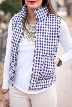 A Southern Drawl: Navy Gingham Vest from Juliana's Boutique- shopjulianas.com