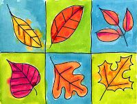Paint the leaves with warm colors. Add accent lines of paint over the marker lines. If you do this while the paint is still wet, the colors will bleed together.  4. Pick two cool colors, and paint the backgrounds alternately in a grid pattern.