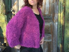 Handknit lilac boucle jacket Handmade wool от JuliasFineKnits