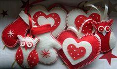 Ozdoby choinkowe, świąteczne z filcu na choinkę - filcowka - Dekoracje bożonarodzeniowe