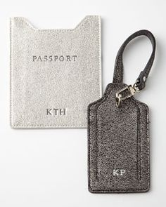 -4T24   Glitter-Leather Passport Sleeve Glitter-Leather Luggage Tag