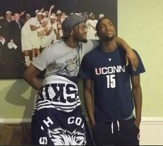 #Bobcats Michael Kidd-Gilchrist dons a #UConn shirt and poses for a picture with teammate Kemba Walker after losing a bet.