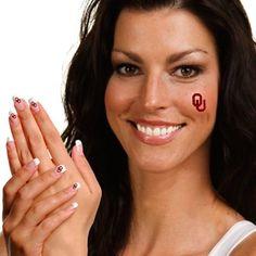 Oklahoma Sooners Peel and Stick Skin and Fingernail Tattoo Combo Pack
