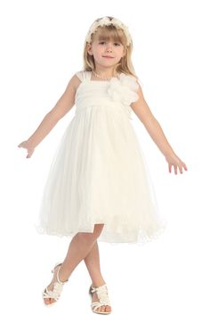 Ivory Soft Tulle Gathered Flower Girl Dress with Short Sleeves - K298-BK K298-IV2 $46.95 on www.GirlsDressLine.Com