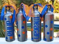2 Personalized Aluminum Water Bottles by theditzyglitzygirls, $26.00