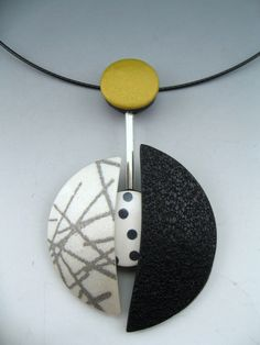 Modernist inspired polymer clay neckwire pendant by Stonehouse Studio.