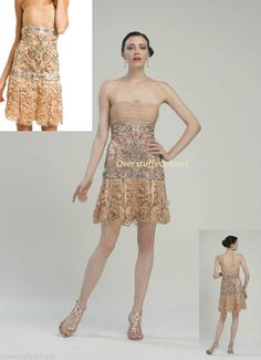 NWT $468 Sue Wong Dusty Peach Embellished Rosette Strapless Tulle Dress 6