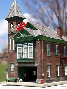 Railroad kit's,beautiful Fire hall structure. Photo and modeling by Greg Shinnie.