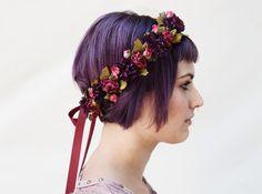 Pink Rose & Aubergine Flower Crown, Hippie, Fall Fashion, Floral Crown, Rose Crown, Floral Headband, Purple, Hair Wreath, Circlet, Crown by BloomDesignStudio on Etsy https://www.etsy.com/listing/201395042/pink-rose-aubergine-flower-crown-hippie