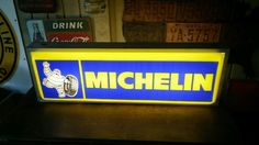 Vintage Illuminated Double Sided Automobile Tire Sign Michelin Man Colorful
