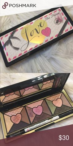 Too Faced Love Palette Never used, only swatched. Comes with eyeliner and instructional cards. Too Faced Makeup Eyeshadow