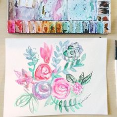 @krosestudio practices new watercolor techniques with this beautiful floral painting  #skillshare