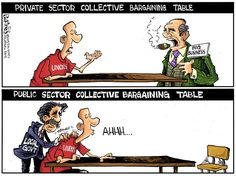 Collective Bargaining Table - Political cartoon by Phil Hands