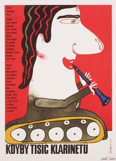Movie Posters Auction / £0.99 / This TUESDAY 01.11.2016 / Magical Movie Posters from Czechoslovakia for Everyone !! / IF THOUSANDS CLARINETS movie poster designed by Karel Vaca, Czechoslovakia, 1983. #postersale #graphicdesign