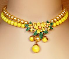 Miriam Haskell Style Necklace Set Yellow. $225.00, via Etsy.