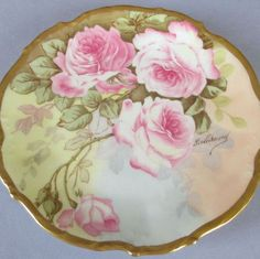 Antique Limoges Porcelain Hand Painted Cabinet Plate Of Pink Roses And Lush Gilt Trim - France   Signed