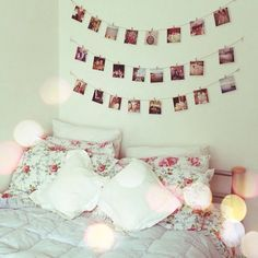 Cute way to display Photographs, Peg Polaroids Up! Cosy Bedroom Ideas