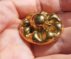 Vintage Bimini Button Type Glass Developments Backmark Gilt Flower Gold 30mm