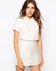 Lavish Alice Metallic Boucle Cropped Mini Dress