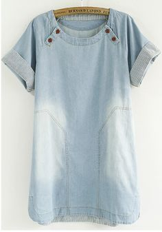 Blue Plain Studded Denim shirt