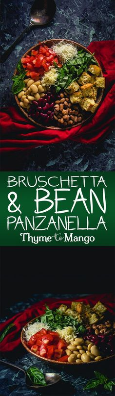 Transform the iconic Italian appetiser into a tasty and nutritious salad with this Bruschetta and Bean Panzanella Entree Recipes, Gourmet Recipes, Vegan Recipes, Dinner Recipes, Sweets Recipes, Rice Recipes, Mango Recipes, Summer Recipes, French Lentils